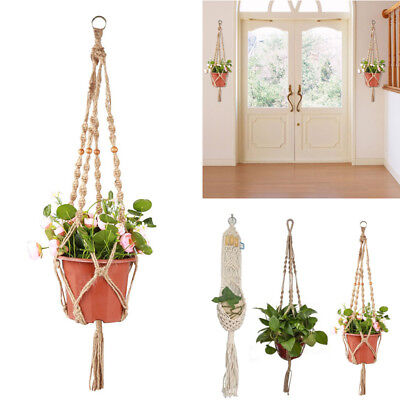 Hot Pot Holder Macrame Plant Hanger Hanging Planter Basket Jute Rope Braided K