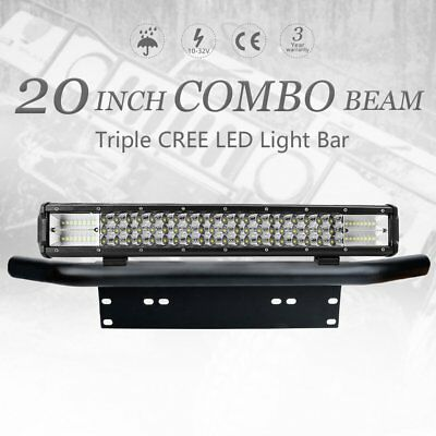 "20 inch 460W CREE LED Light Bar Triple SPOT & FLOOD 23"" Black Number Plate Frame"