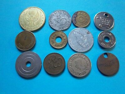 12 Assorted Metal Tokens [ E 235 ] See Photographs For Details Worth A Look
