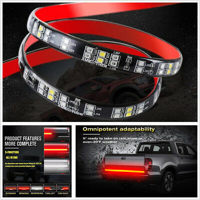 "60"" Universal 2-Row LED Car RV Van Tail Light Reverse Brake Lamp Turn Signal DRL"