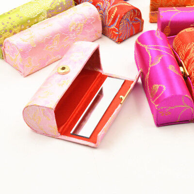 Lipstick Case with Mirror Satin Silky Fabric Floral Printed Lip Stick Holder
