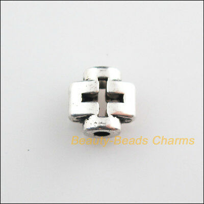 10Pcs Tibetan Silver Tone Smooth Tiny Cross Spacer Beads Charms 8mm