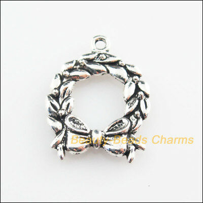 6Pcs Tibetan Silver Tone Christmas Bell Knot Charms Pendants 19x25mm