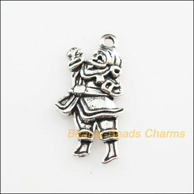 6Pcs Tibetan Silver Tone Christmas Santa Claus Charms Pendants 13x27mm