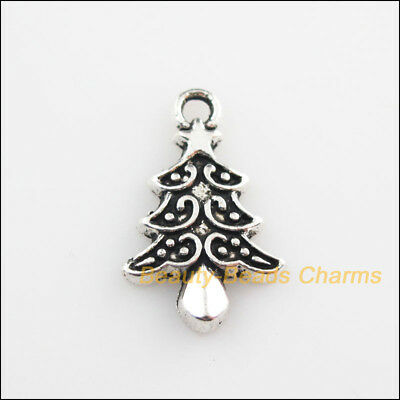 6Pcs Tibetan Silver Tone Christmas Tree Leaf Charms Pendants 14x21mm