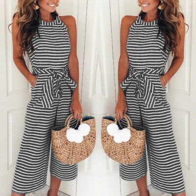 Womens Striped Sleeveless Wide Leg Jumpsuits Rompers Summer Holiday Playsuits US