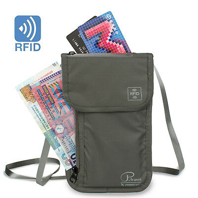 Travel Neck Pouch Passport Holder with RFID Blocking- Ultra-Compact Neck Wallet