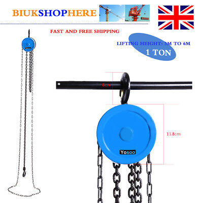 1 Ton Chain Block Hoist Heavy Duty Tackle Engine Lifting 3m to 6m Pulley UK CE
