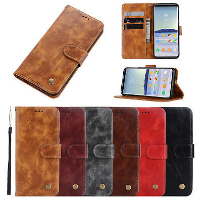 JX Retro Oily Pull-up Leather Card Wallet Stand Flip Case Cover For Lot Samsung