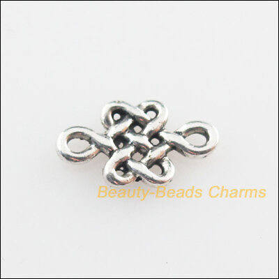 50Pcs Tibetan Silver Tone Chinese Knote Charms Connectors 6x10.5mm