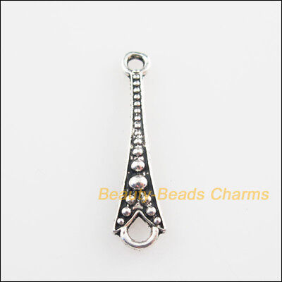 25Pcs Tibetan Silver Tone Slender Cone Charms Connectors 6.5x26mm