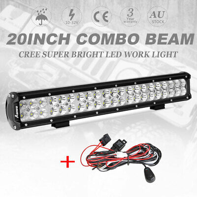"""22inch CREE LED Light Bar Spot Flood Driving Offroad 4WD 22/23"""" + Wiring Kit"""