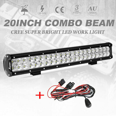 "22inch Combo LED Light Bar Spot Flood Driving Offroad 4WD 22/23"" + Wiring Kit"