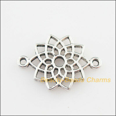 15Pcs Tibetan Silver Tone Flower Lotus Charms Connectors 14x20mm