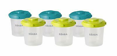 Beaba Clip Portions Baby Food Storage Containers (200 ml, Pack of 6) - Blue/Neon
