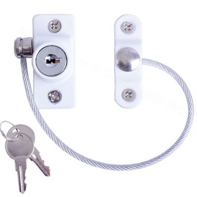 White Window Door Restrictor Safety Locking UPVC Child Baby Security Wire Cable
