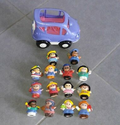 Lot 1 voiture + 14 figurines LITTLE PEOPLE FISHER PRICE