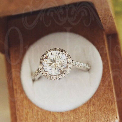 1.5Ct Round Synthetic White Moissanite Engagement Ring 14K Solid White Gold