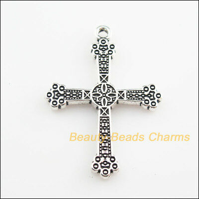 2Pcs Tibetan Silver Tone Flower Cross Charms Pendants 31x43.5mm