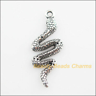 8Pcs Tibetan Silver Tone Animal Snake Cobra Charms Pendants 15x39mm