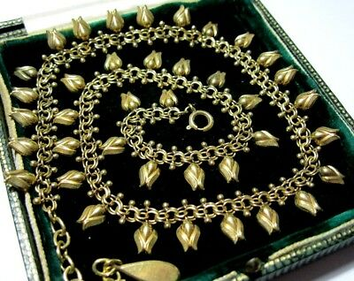 Antique Vintage Beautiful Signed Rolled Rose Gold Tulip Drop Art Deco NECKLACE