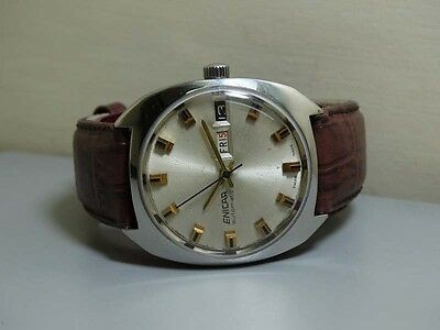 Superb Vintage Enicar Automatic Day Date Swiss WRIST WATCH Old Used ANTIQUE e595