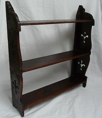 Antique Victorian Vintage Arts & Crafts Wooden Kitchen Book Wall Shelves Rack