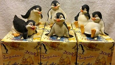 CUTE 2002 Summit Collection Penguins Set of 6 Mint Hand Painted Resin Figurines