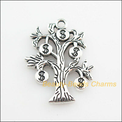 2Pcs Tibetan Silver Tone Money Dollars Tree Charms Pendants 22x29mm