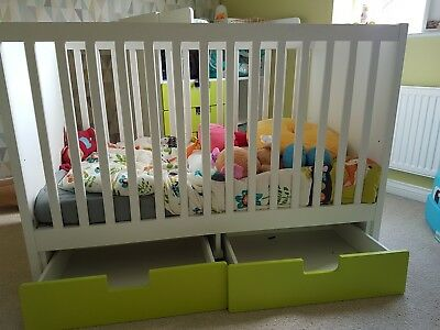 Ikea Cot Bed With 2 Green Drawers
