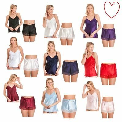 Ladies satin cami set french knickers camisole shorts lace retro sizes 10-28