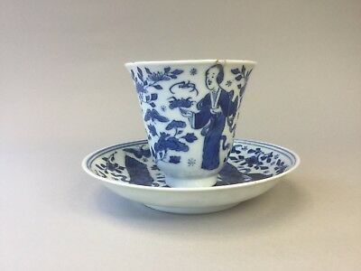 18th/19th C. Chinese Long Eliza Beaker / Cup and Saucer - Kangxi Mark