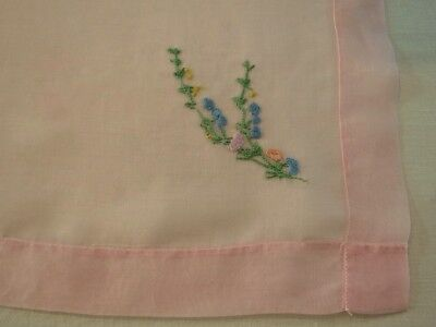 Vintage Linen - Small Embroidered Cotton Organdy Tablecloth - Pink