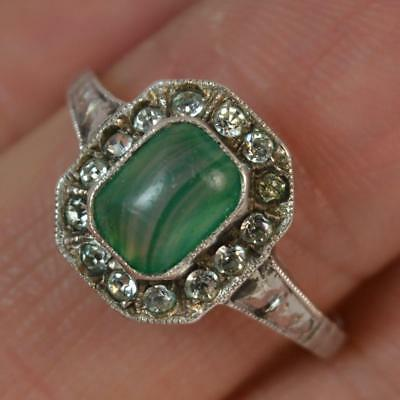 Rare 1930's Art Deco Moss Agate 9ct Gold Cluster Ring t0180