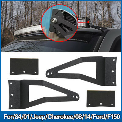 "84-01 Jeep Cherokee/08-14 Ford F150 50"" Curved Light Bar Roof Mount Brackets HB1"