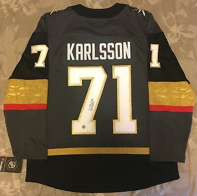 643f63f1dc2 WILLIAM KARLSSON VEGAS Golden Knights Autographed Black Adidas ...