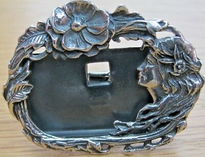 Gorgeous Hallmarked Sterling Silver Photo Frame Art Nouveau Lady Flowing Hair