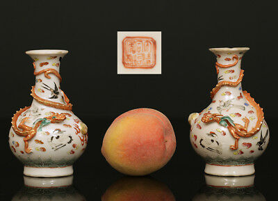 A COUPLE antique CHINESE PORCELAIN FAMILLE ROSE TONGZHI M&P VASES 1870