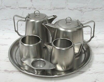 Vintage Retro Swan Brand Brushed Stainless Steel Tea Set With Tray & Strainer