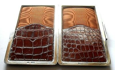 Antique Silver & Crocodile Leather Cigar Case Wallet Drew & Sons London 1899