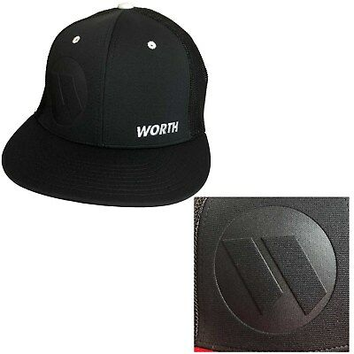 Worth Embossed Hat by Richardson R165–Black/White Button/ Embossed Worth SM/MD