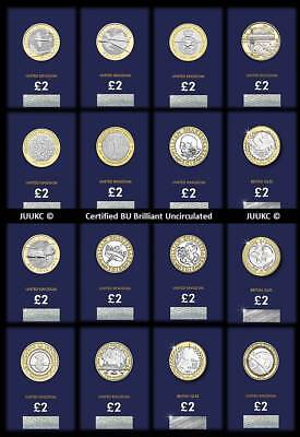2015 to 2018 Certified Brilliant Uncirculated Two Pound £2 Coins - Various Years