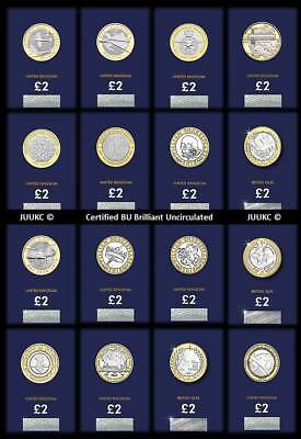 2016 to 2018 Certified Brilliant Uncirculated Two Pound £2 Coins - Various Years