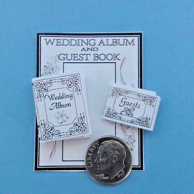 Dollhouse Miniature Wedding Album & Guest Book Silver Gilt Embossed 1:12 scale.