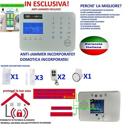 Kit Allarme Antifurto Casa Touch Screen Senza Fili Wireless Gsm Anti Jammer App
