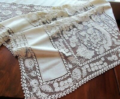 RARE Antique Italian REFECTORY or WINERY TABLECLOTH Handmade BOSA Lace 120""""