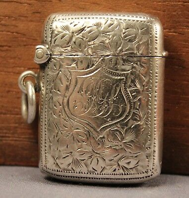Fine 1901 JOSEPH GLOSTER Antique Solid STERLING SILVER Vesta Case Match Safe Box