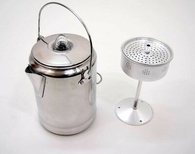 Vintage Style Camping Coffee Percolator 9 Cup Aluminium Stove Fire Top Outdoor