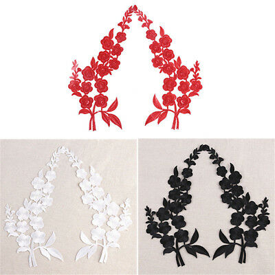 2pcs Embroidery Blossom Flower Sew Iron On Patch Badge DIY Dress Applique Craft