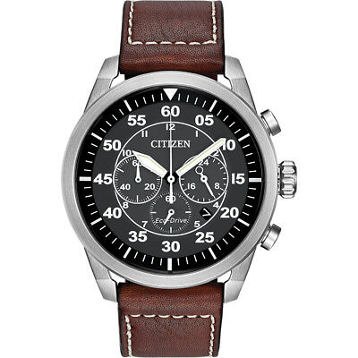 Citizen Mens Avion Chronograph Eco-Drive Watch - Stainless Steel and Leather